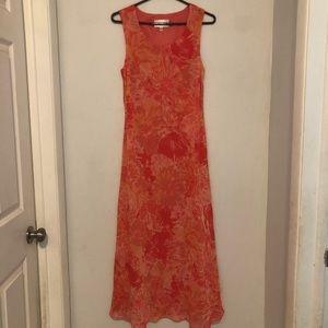 Studio 1 Orange/Red Floral Maxi Dress Size 12
